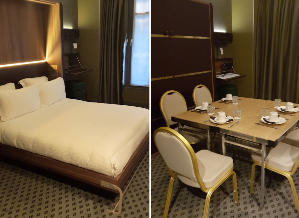 Hotel Whistler, Paris room with foldup bed and meeting room setup