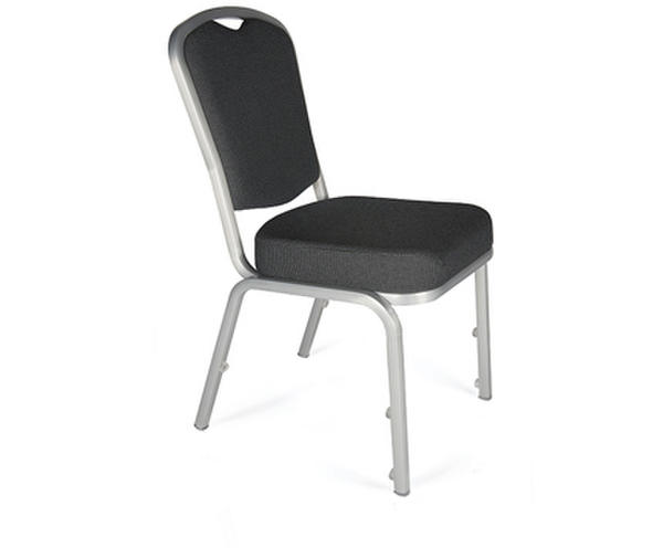 Stackable modern banquet chair with chrome frame and comfortable grey padded seat