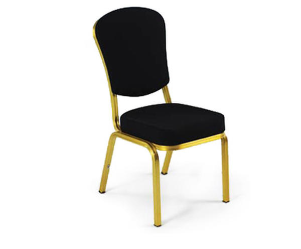 Stacking banquet chair with gold frame and black fabric upholstery