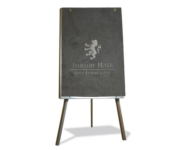 Grey flipchart cover branded with company crest and name