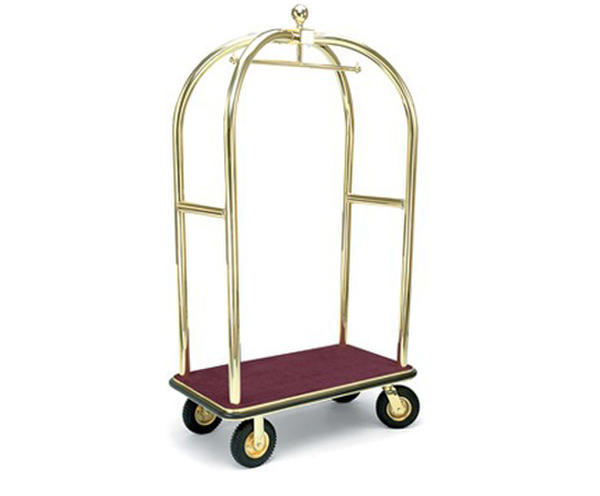 Birdcage brass hotel luggage trolley