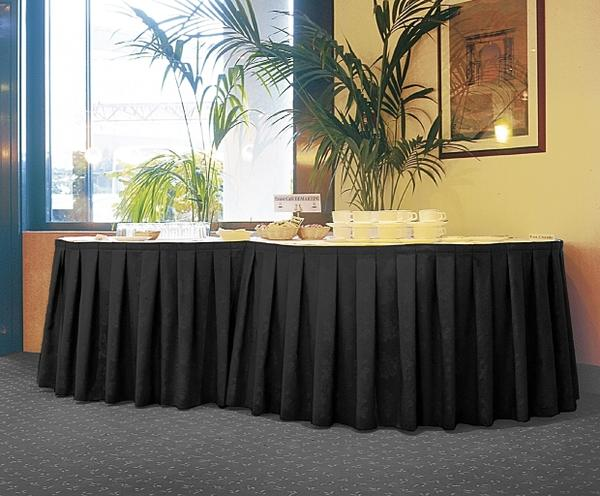 Banquet table skirting in black fabric