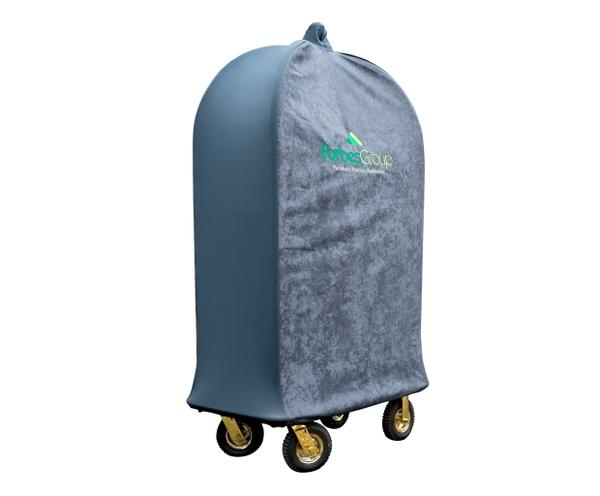 Birdcage Luggage Cart Cover with finial cover and embroidered logo