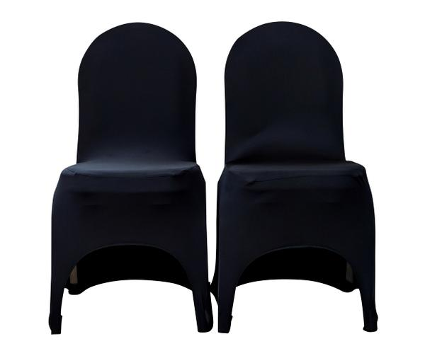 Black stretch chair cover with arch