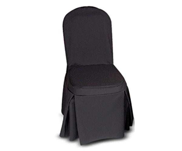Black chair cover for banquet chairs