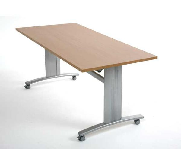 Flip top seminar table with wheels
