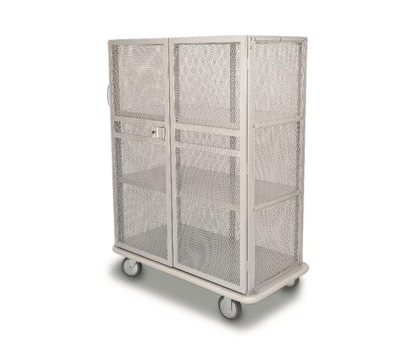 Hotel laundry cart with wire mesh doors