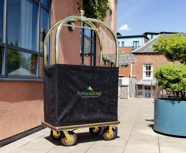 Birdcage Luggage Cart Panel with embroidered logo