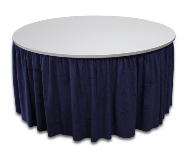 Blue round table skirting