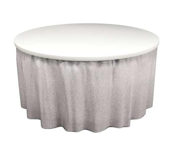 Elastic top simple fit table skirting for a large circular restaurant table