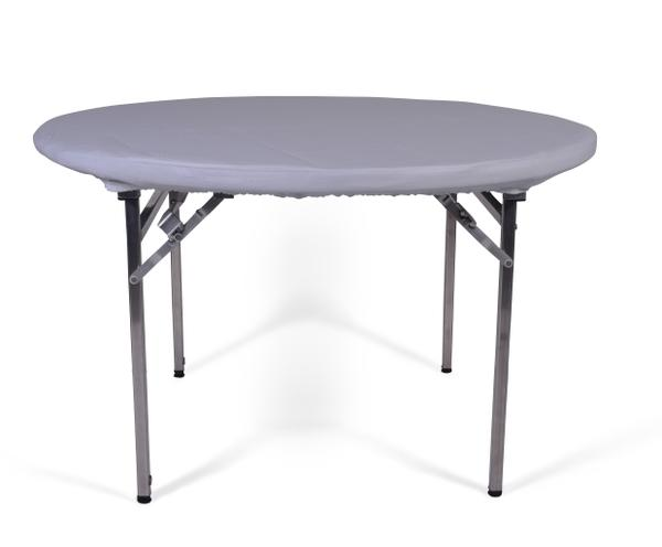 Round table protector with shower cap edge