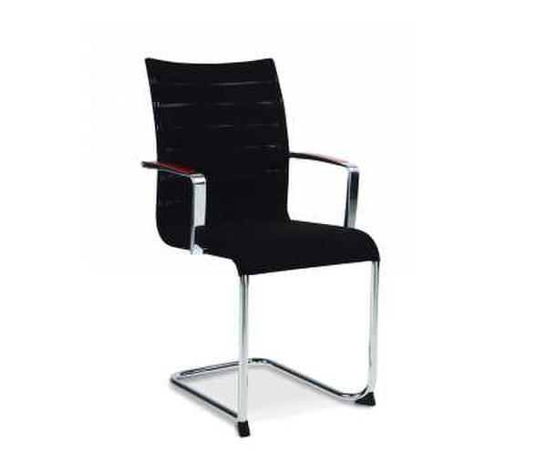 Black mesh stacking conference chair with arms