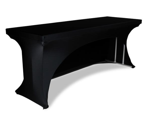 Stretch table cover with cutout back