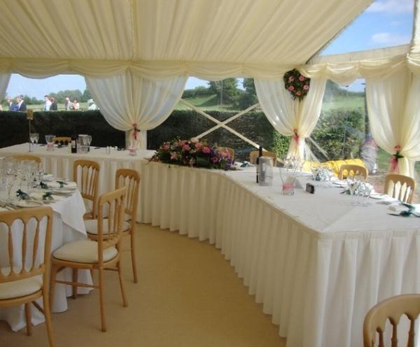 Wedding table skirting can cover multiple trestle tables