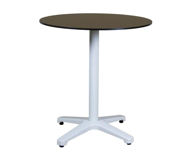 Round bar table with white base (Calvados)